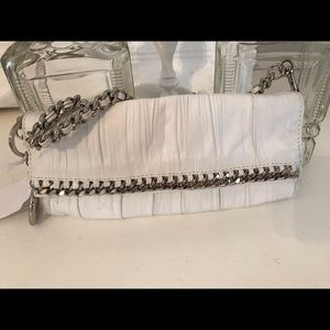Bebe White Leather Clutch